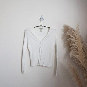 ribbed button front long sleeve to